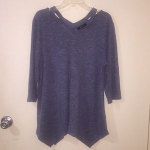 Blue sweater with v-neck detail